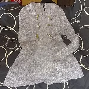 """Takeout Cardigan 30"""" long sweater with hood."""
